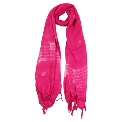 Pink and White Tie-dye Creamsicle Rectangle Women's Hijab Scarf with Tassles