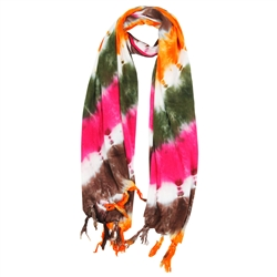 Green Orange Pink and Brown Tie Dye Rectangle Women's Hijab Scarf with Tassles
