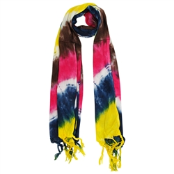 Yellow Blue Pink and Brown Tie Dye Rectangle Women's Hijab Scarf with Tassles