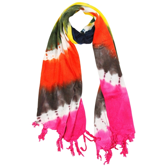 Yellow Orange Pink and Brown Tie Dye Rectangle Women's Hijab Scarf with Tassles