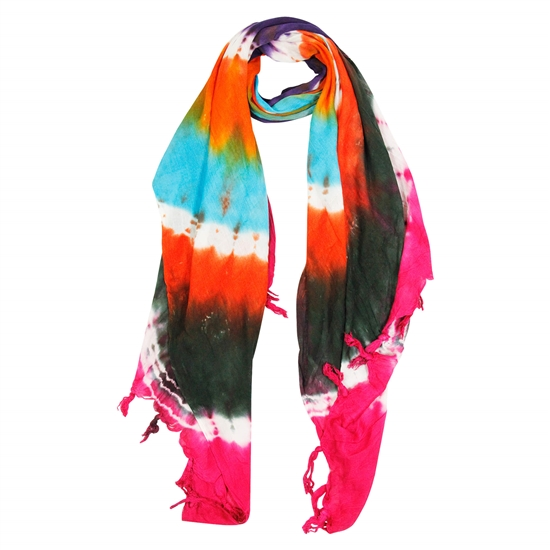 Blue Orange Green and Pink Tie Dye Rectangle Women's Hijab Scarf with Tassles