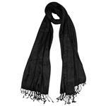 Black Jacquard Style Embroidered Women Hijab Scarf