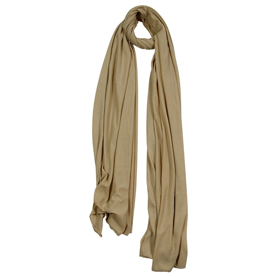 Plain Tan Brown Soft Lightweight Women Jersey Hijab Scarf