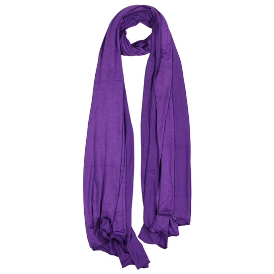 Plain Violet Purple Lightweight Womens Jersey Hijab Scarf