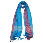 Powder Blue Women Hijab Scarf Orange Stitch Design