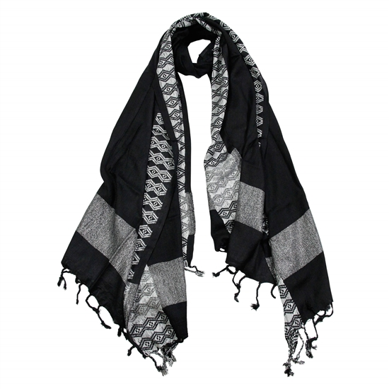Jet Black Women Hijab Scarf White Stitch Design