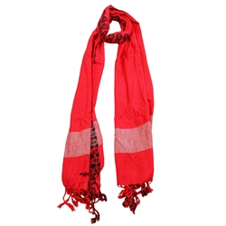 Blood Orange Women Hijab Scarf Black Stitch Design