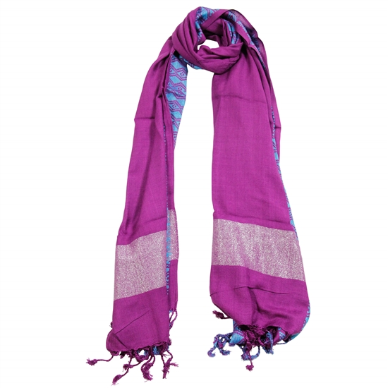 Amethyst Color Women Scarf Blue Stitch Design