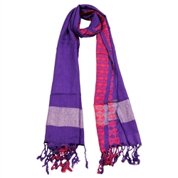 Violet Purple Women Scarf Orange Stitch Design