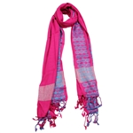 Fuchsia Purple Women Scarf Blue Stitch Design