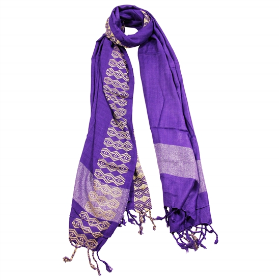 Violet Purple Women Scarf Yellow Stitch Design