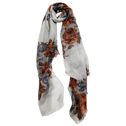 Cool Gray Gold Floral Pattern Women Hijab Scarf