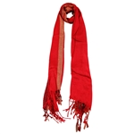 Pashmina Blend Red  Gold Women Hijab Scarf Tassles