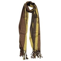 Pashmina Blend Brown and Gold Women's Hijab Scarf