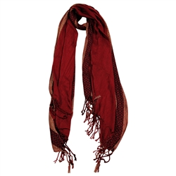 Pashmina Blend Burgundy and Gold Women Hijab Scarf