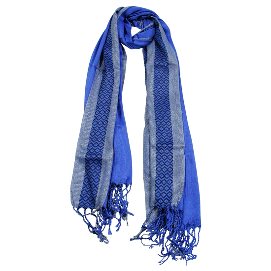 Pashmina Blend Blue and Gold Women's Hijab Scarf