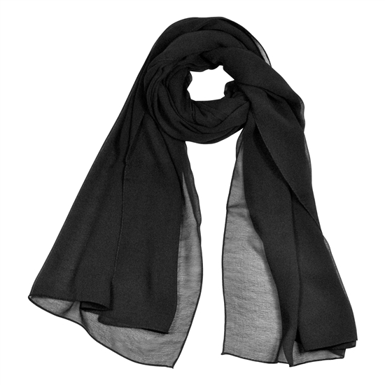 Black Lightweight Soft Sheer Chiffon Scarf Long Rectangle Womens Head Wrap Shawl