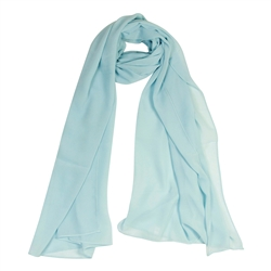 Sky Blue Lightweight Soft Sheer Chiffon Scarf Long Womens Head Wrap Shawl