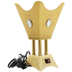 Square Gold Tone Electric Incense Bakhoor Burner