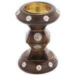 Circular Bakhoor Burner with Metal Flower Design