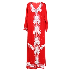 "Cherry Red Moroccan Embroidered Women's Kaftan Dress with White Stiching - 59"" length"