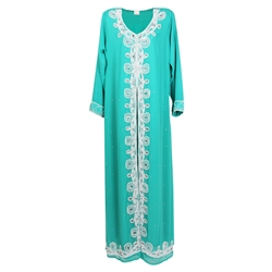 Turquoise Green Moroccan Embroidered Women's Kaftan Dress with White Stiching