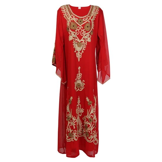 Burgundy Moroccan Embroidered Women's Kaftan Dress with Tan and Brown Stiching