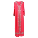 Flamingo Pink Moroccan Embroidered Women's Kaftan Dress with Silver and White Stiching