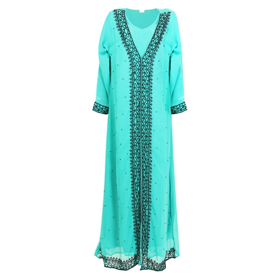 Turqoise Green Moroccan Embroidered Women's Kaftan Dress with Black Stiching