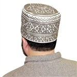 Grey Cotton Blend Oman Kumma Kufi Men's Cap Islamic Hat - 22 inch