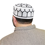 Men's Islamic Muslim Knitted Kufi Prayer Cap White and Black