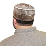 Men's Islamic Muslim Kufi Prayer Cap in Brown and White