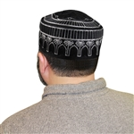 Men's Islamic Muslim Kufi Prayer Cap in Black and Silver Color