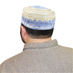 Men's Islamic Muslim Kufi Prayer Cap in Blue and Gold- 22""