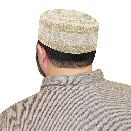Men's Islamic Muslim Kufi Prayer Cap in Cream Color