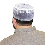 Men's Islamic Muslim Kufi Prayer Cap in White and Violet- 22""