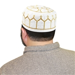 Men's Islamic Muslim Kufi Prayer Cap in White and Gold Color