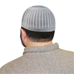 Gray & White Knitted Kufi Muslim Prayer Mens Skull Cap Islamic Hat Topi