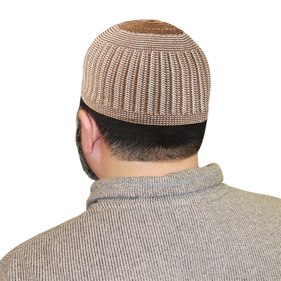 Brown Kufi Muslim Mens Skull Islamic Hat Topi - 22