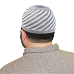 White Cool Gray Knitted Muslim Mens Prayer Kufi Hat Diagonal Stripe Pattern 24""