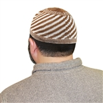 Brown Kufi Muslim Prayer Mens Islamic Hat Topi
