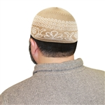 Islamic Muslim Prayer Mens Beige & White Knitted Kufi Skull Cap Topi