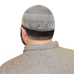 Islamic Muslim Mens Prayer Gray & White Knitted Kufi Skull Cap Topi