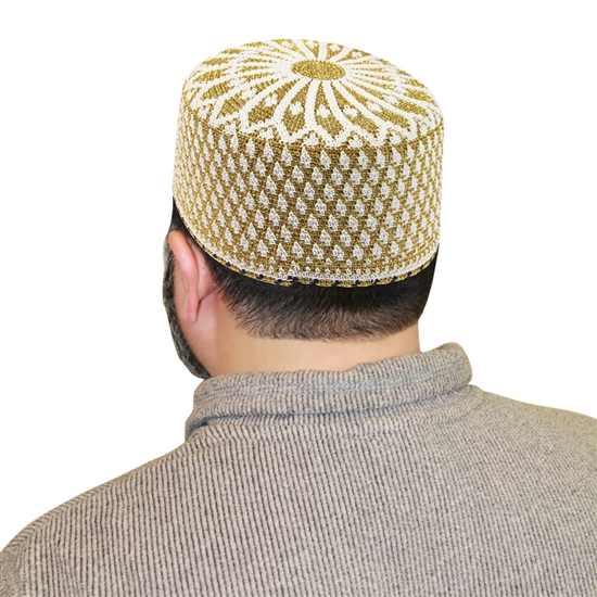 Islamic Hat Muslim Mens Prayer White and Gold Knitted Kufi Cap Bohra Topi - 21.5""