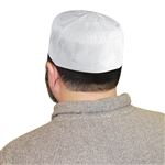 Muslim Mens Saudi Style White Islamic Kufi Cap Embroidered Hat - 22.5""