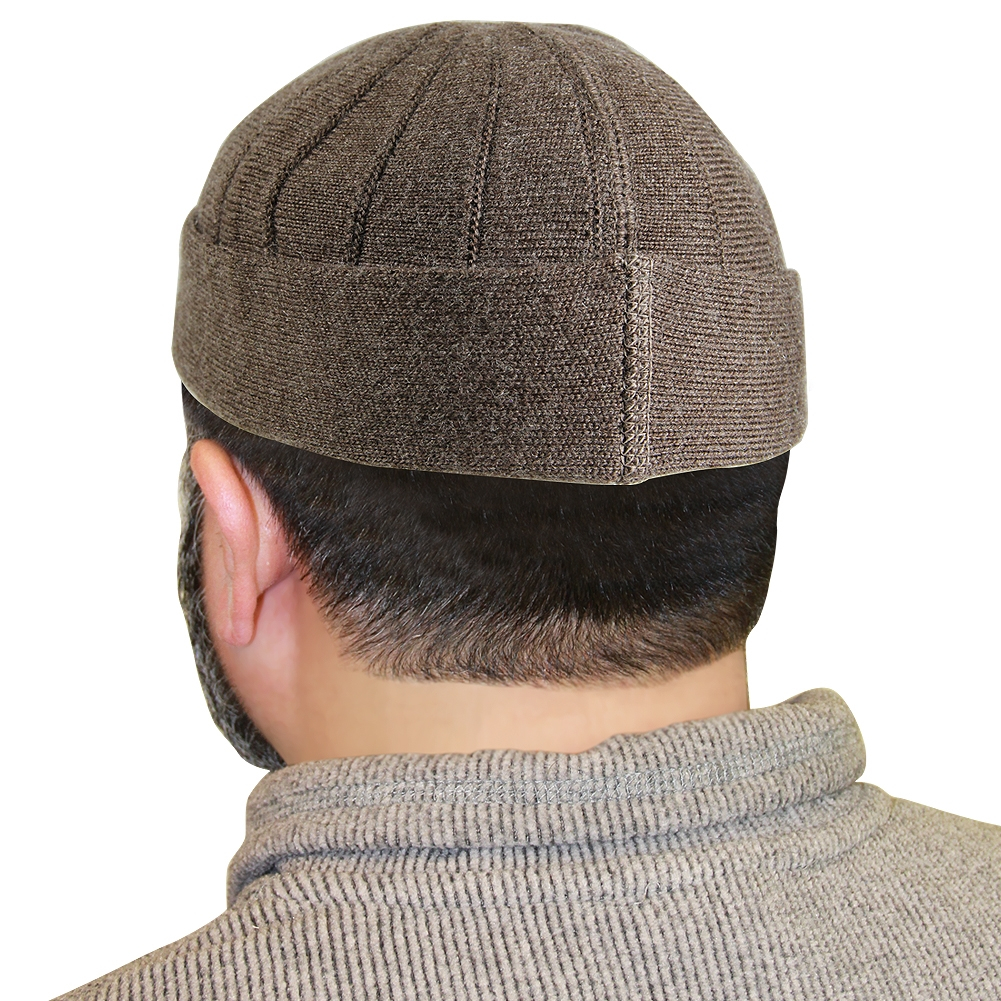 da4130afee3b4 Brown Muslim Mens Prayer Kufi Hat Beanie
