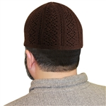 Dark Brown Knit Muslim Prayer Kufi Hat