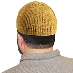 Tan Marbled Knit Muslim Prayer Kufi Hat