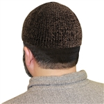 Dark Brown Marbled Knit Muslim Mens Prayer Kufi