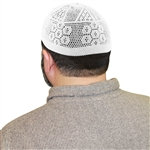 Cotton White Knitted Flower Mens Prayer Kufi